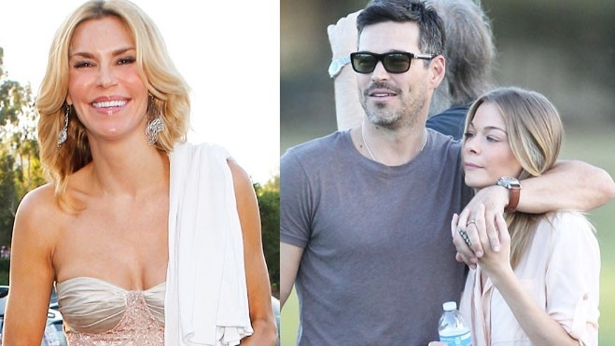 Brandi Glaville, left, and ex-husband Eddie Cibrian with new wife LeAnn Rimes.