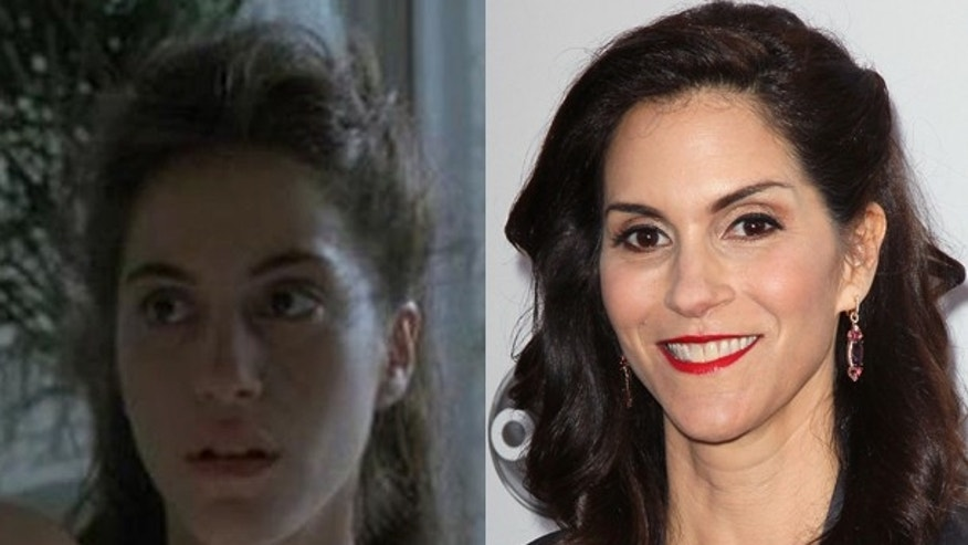 "Jami Gertz as Blair in ""Less Than Zero"" (1987) and Jami Gertz today."