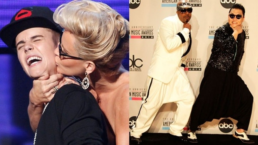 Justin Bieber mugged by Jenny McCarthy; Psy and MC hammer pose on the red carpet.