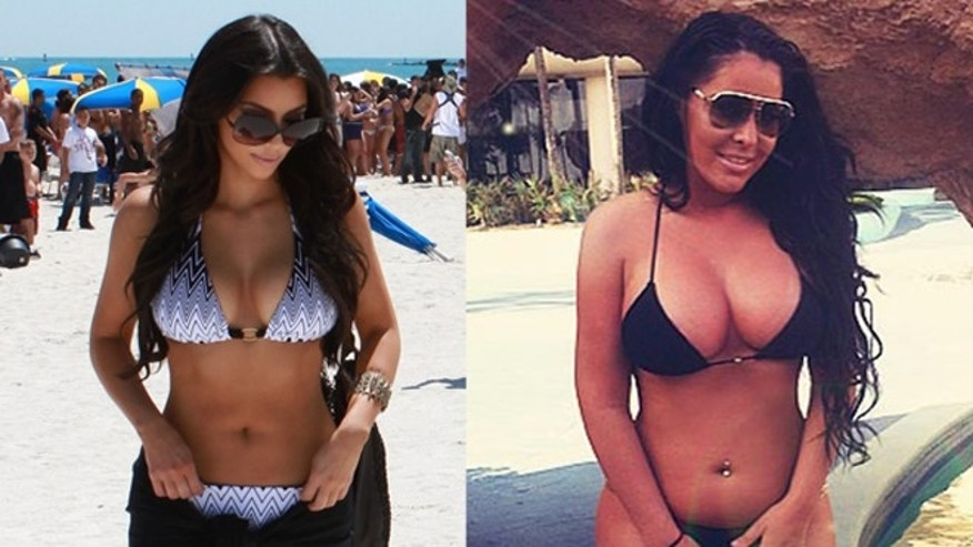 Kim Kardashian, left, and Myla Sinanaj, right, posing in bikinis.