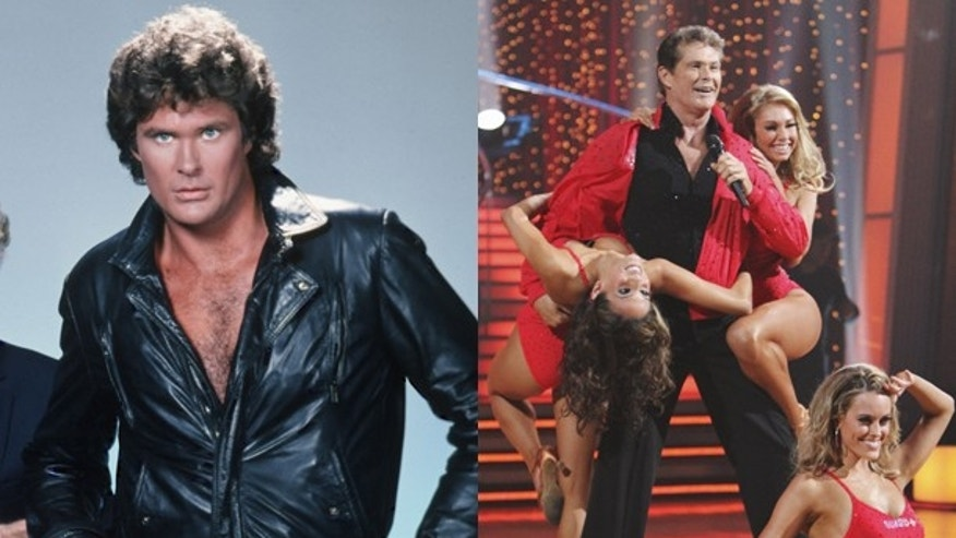 "David Hasselhoff as Michael Knight in ""Knight Rider"" and now."