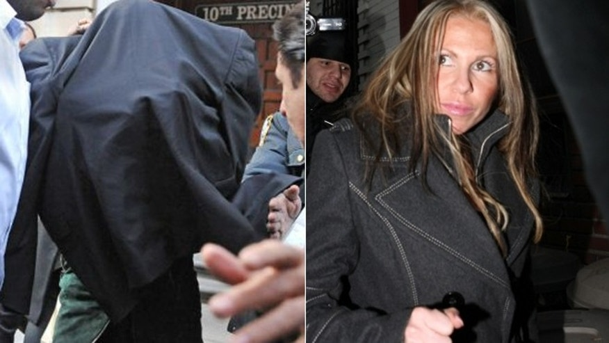Lindsay Lohan, left, hides under a jacket while leaving a New York City police station. Tiffany Eve Mitchell, right, is the woman rumored to be involved in the altercation with Lohan.