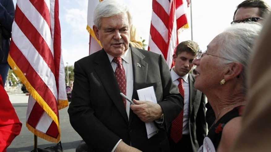 Republican presidential candidate, former House Speaker Newt Gingrich meets with supporters at The River Church in Tampa, Fla.