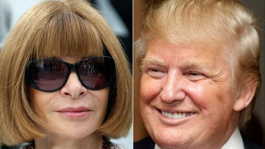 Anna Wintour, left, and Donald Trump, right.