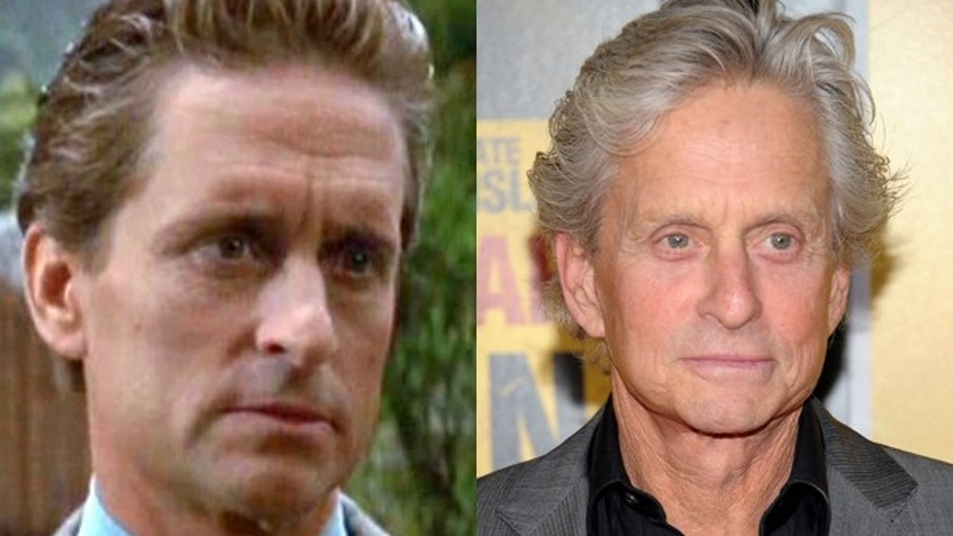 "Michael Douglas in ""Wall Street"" and now."