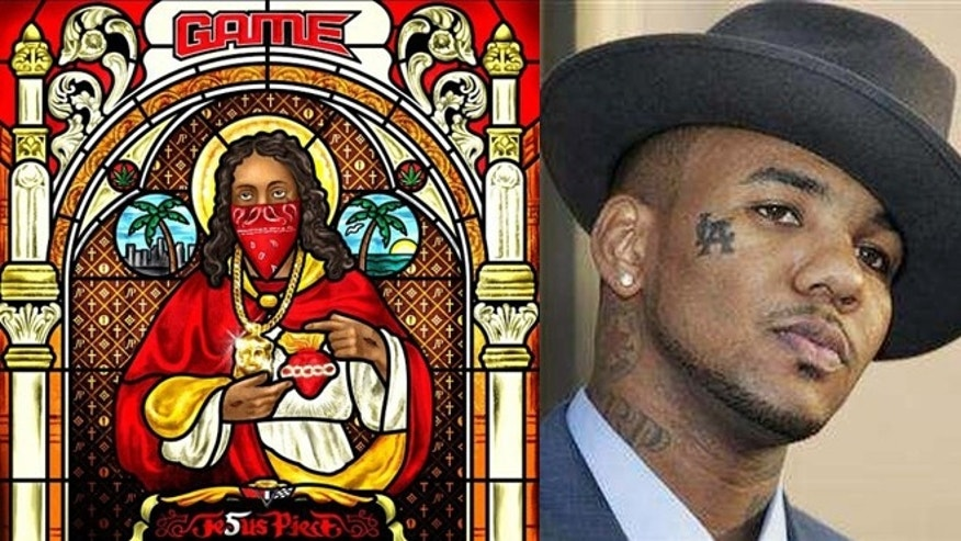 Rapper The Game and the cover of his new CD 'Jesus Piece.'