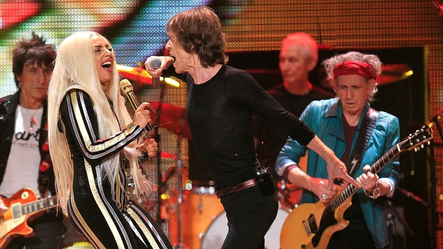 Lady Gaga rocks out with the Rolling Stones.