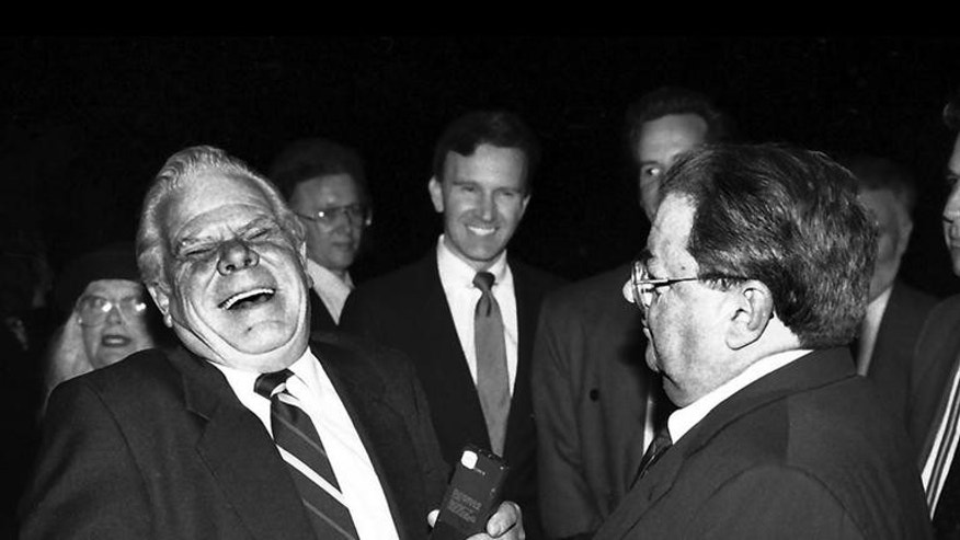 "Hanlon's fellow 'Our Gang' stars Tom ""Butch"" Bond and George ""Spanky"" McFarland (l-r) share a laugh in 1992."