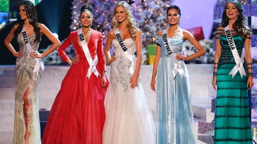 Dec. 19, 2012: The five Miss Universe finalists were, from left, Miss Brazil Gabriela Markus, Miss USA Olivia Culpo, Miss Australia Renae Ayris, Miss Philippines Janine Tugonon and Miss Venezuela Irene Sofia Esser Quintero.