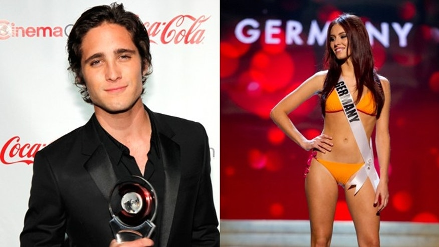 Diego Boneta, left, and Miss Germany Alicia Endemann, right.