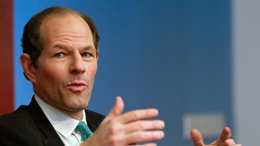 Former New York governor Eliot Spitzer speaks at the Reuters Global Financial Regulation Summit in New York.