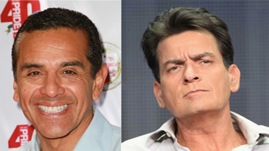 L.A. Mayor Antonio Villaraigosa and actor Charlie Sheen.