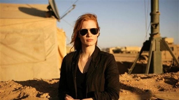 """FILE - This undated publicity film image provided by Columbia Pictures Industries, Inc. shows Jessica Chastain in""""Zero Dark Thirty.""""  Chastain was nominated  for an Academy Award for best actress on Thursday, Jan. 10, 2013, for her role in the film.  The 85th Academy Awards will air live on Sunday, Feb. 24, 2013 on ABC.  (AP Photo/Columbia Pictures Industries, Inc., Jonathan Olley, File)"""