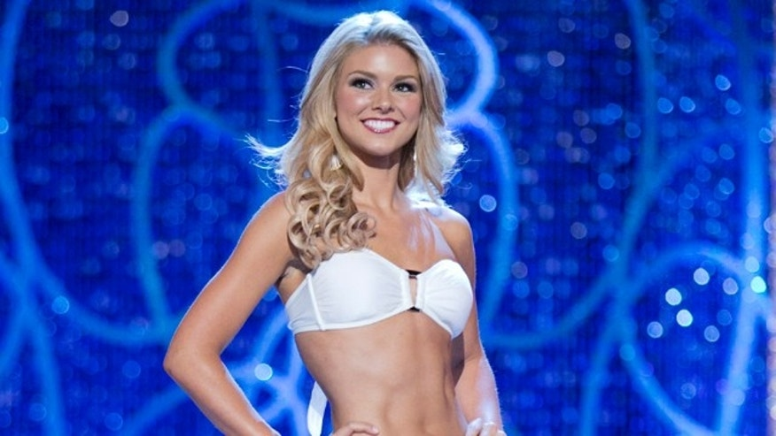 Jan. 8, 2013: This photo courtesy Miss America Organization shows Miss South Carolina Ali Rogers, 20, from Laurens, S.C. appears on stage modeling a swimsuit in Las Vegas.