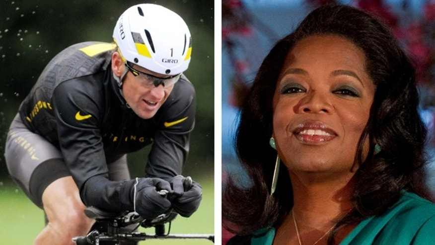 FILE - This combination image made of file photos shows Lance Armstrong, left, on Oct. 7, 2012, and Oprah Winfrey, right, on March 9, 2012.