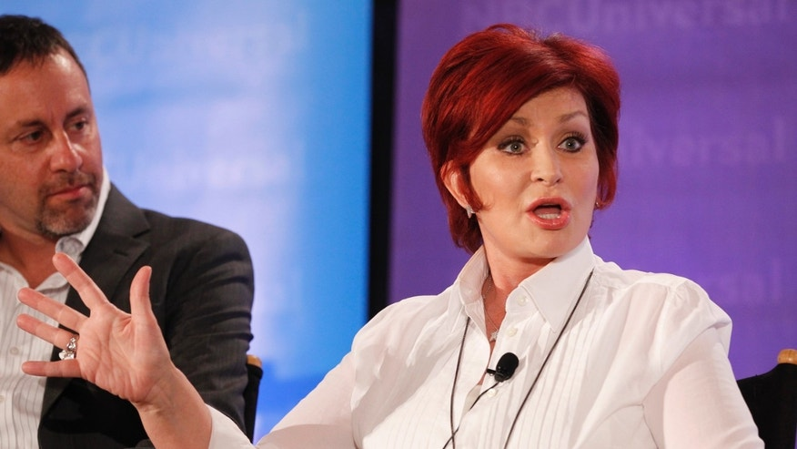 "Sharon Osbourne, one of the judges on ""America's Got Talent"", takes part in a panel discussion at the NBC Universal Summer Press Day 2012."
