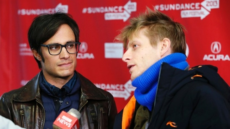 "Actor Gael Garcia Bernal, left, and director Marc Silver are interviewed at the premiere of ""Who Is Dayani Cristal?"" during the 2013 Sundance Film Festival on Thursday, Jan. 17, 2013 in Park City, Utah. (Photo by Danny Moloshok/Invision/AP)"