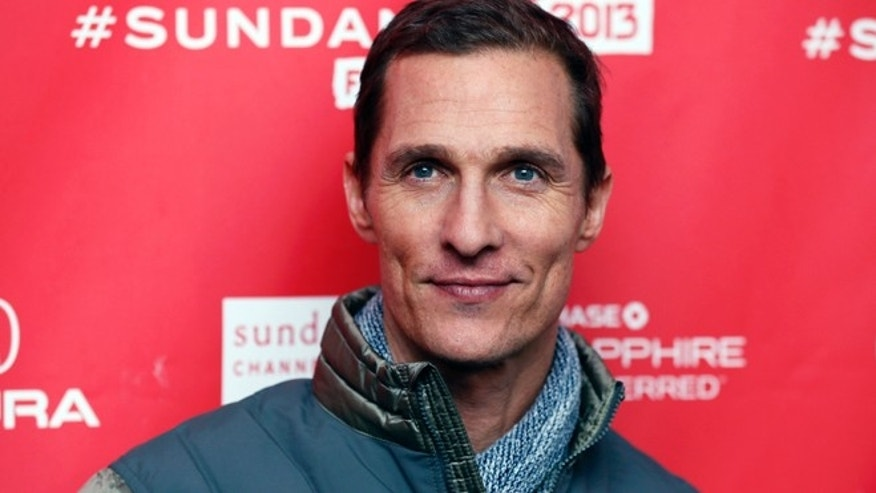 "Cast member Matthew McConaughey poses at the premiere of ""Mud"" during the 2013 Sundance Film Festival on Saturday, Jan. 19, 2013 in Park City, Utah."