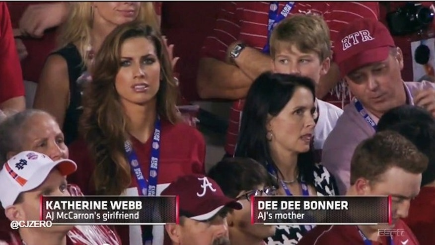 Katherine Webb is shown in the audience at the BCS game.