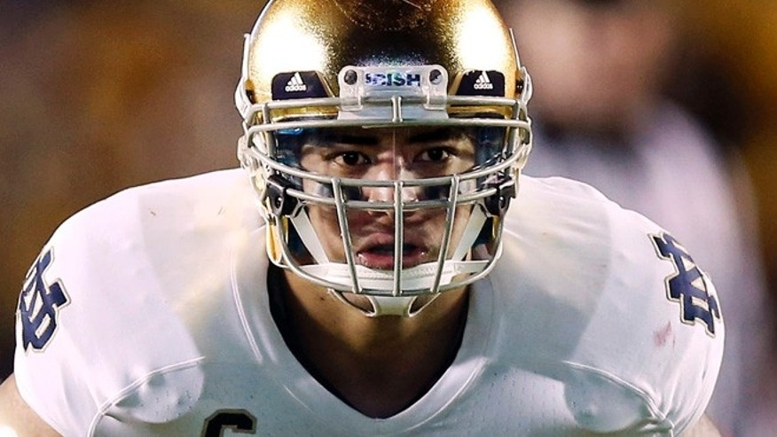 Nov. 10, 2012: Notre Dame linebacker Manti Te'o waits for the snap during the second half of their NCAA college football game against Boston College in Boston.