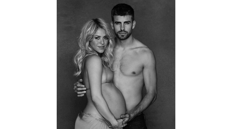 In this undated photo provided by UNICEF, Colombian born singer Shakira poses while pregnant with Spanish soccer player Gerard Piqué.