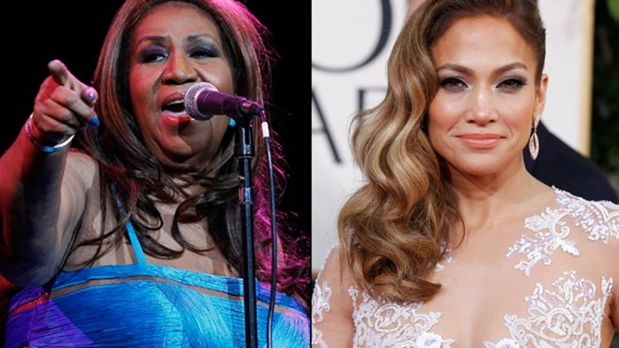 Aretha Franklin, left, and Jennifer Lopez, right.