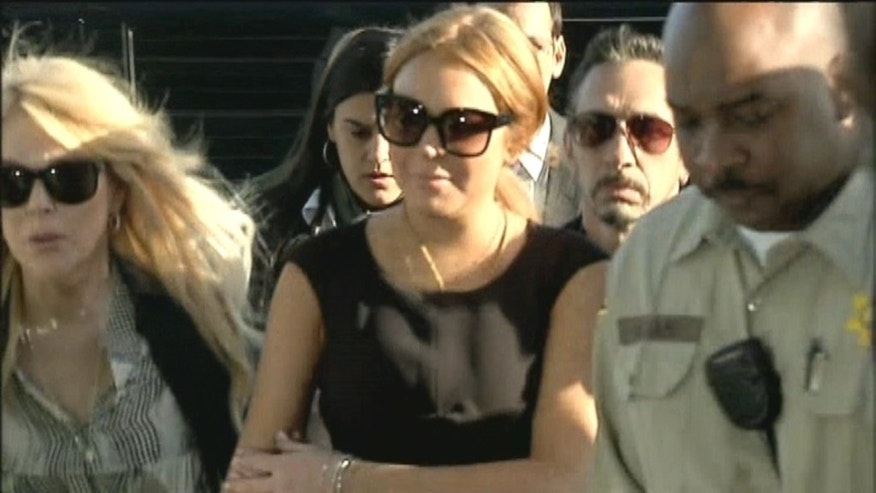 Lindsay Lohan arrives at court in Los Angeles.