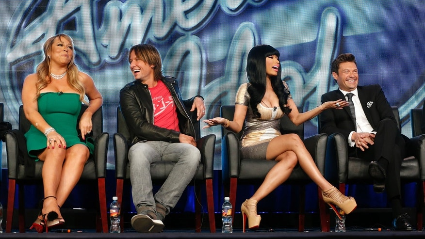 "Jan. 8, 2013: Ffrom left, Mariah Carey, Keith Urban, Nicki Minaj and Ryan Seacrest from ""American Idol"" attend the Fox Winter TCA Tour at the Langham Huntington Hotel, in Pasadena, Calif."