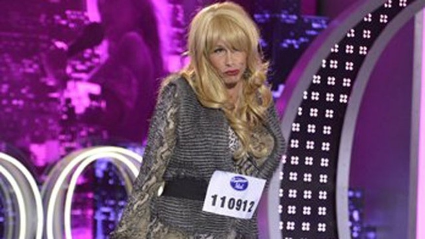 "Jan.31,2013: Steven Tyler in drag on ""American Idol."""