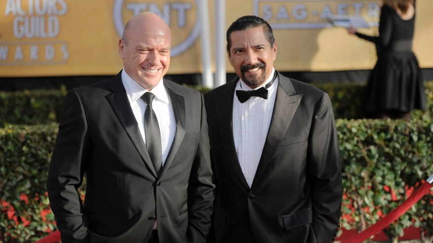 Jan. 27, 2013: File photo shows actors Dean Norris, left, and Steven Michael Quezada at the 19th Annual Screen Actors Guild Awards in Los Angeles.