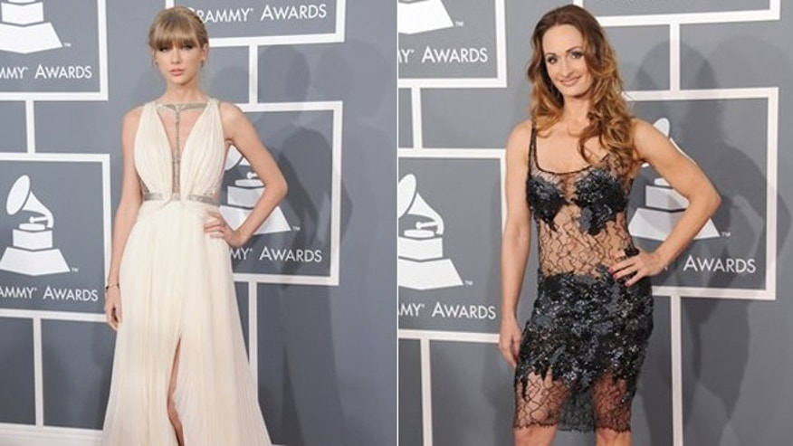 Taylor Swift, left, and D'manti, right, arrive at the Grammy Awards.