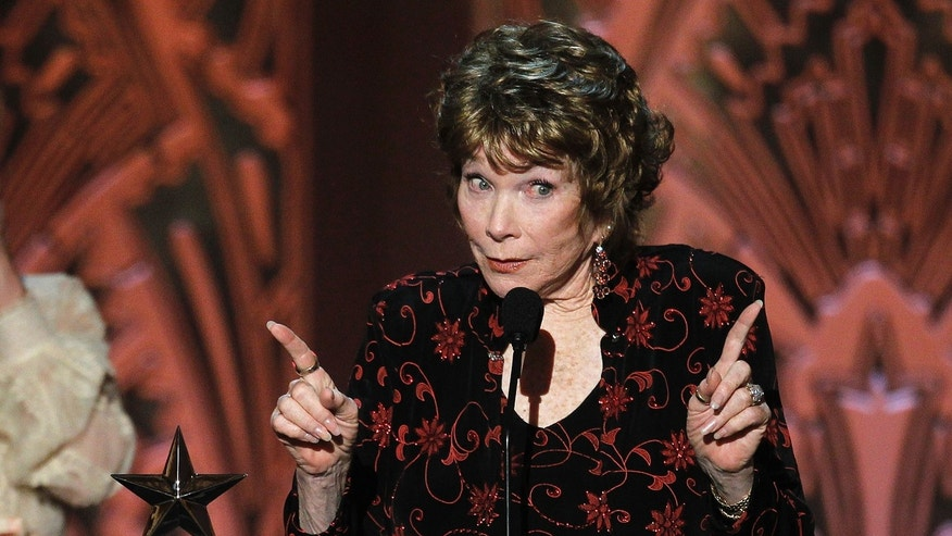 Actress Shirley MacLaine gestures as she speaks at the TV Land cable channel taping of the AFI Life Achievement Award, honoring MacLaine, in Los Angeles June 7, 2012.