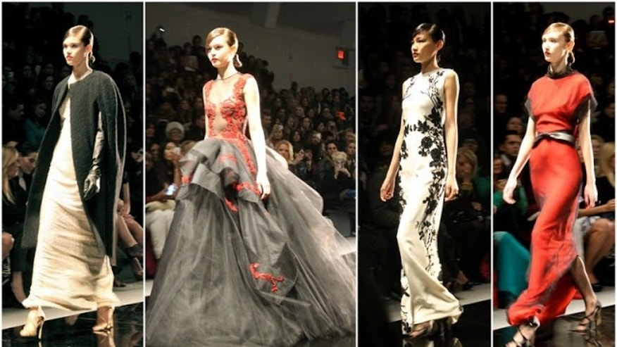 The Reem Acra runway show at New York Fashion Week.