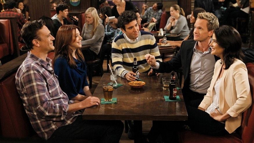 "This undated image released by CBS shows, from left, Jason Segel, Alyson Hannigan, Josh Radnor, Neil Patrick Harris and Cobie Smulders in a scene from ""How I Met Your Mother."""