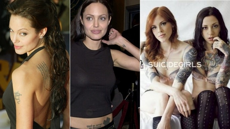 "Angelina Jolie shows off her tattoos, left. The ""Suicide Girls"" book cover, right."