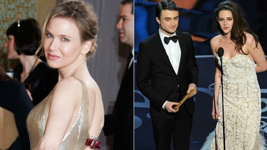 Renee Zellweger, left, and Kristen Stewart, right, attend the Oscars.