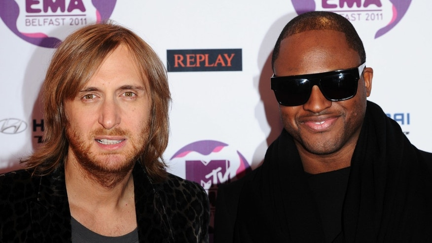Nov. 06, 2011:  David Guetta (L) and singer Taio Cruz attend the MTV Europe Music Awards 2011 at the Odyssey Arena in Belfast, Northern Ireland.
