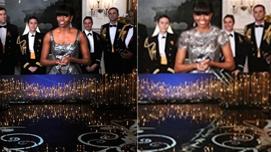Michelle Obama is seen at the Oscars, left. Her dress was edited by Far News in Iran, right.