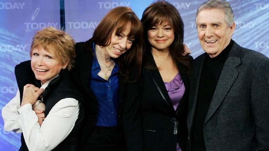 "From left, Bonnie Franklin, MacKenzie Phillips, Valerie Bertinelli and Pat Harrington of the 1970's television sitcom ""One Day at a Time, "" on the NBC ""Today"" television program in New York in 2008."