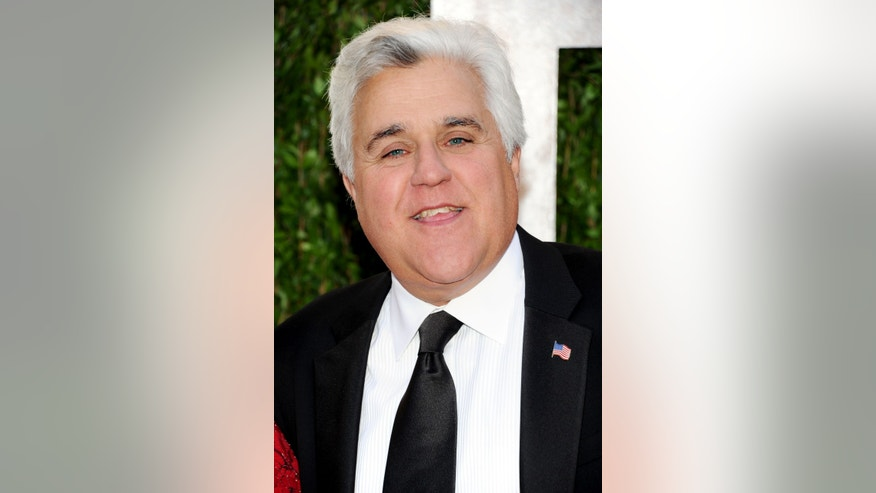 Television host Jay Leno arrives at the 2013 Vanity Fair Oscars Viewing and After Party, Sunday, Feb. 24 2013 at the Sunset Plaza Hotel in West Hollywood, Calif. (Photo by Evan Agostini/Invision/AP)