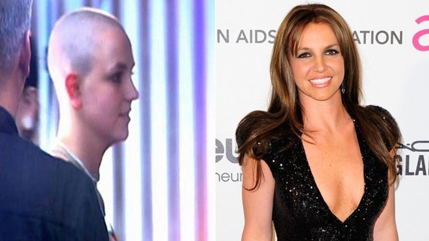 Britney Spears is seen in 2007, left, and in Feb. 2013, right.