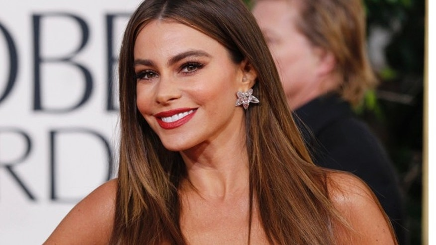 "Actress Sofia Vergara, from the sitcom ""Modern Family,"" arrives at the 70th annual Golden Globe Awards in Beverly Hills, California, January 13, 2013."