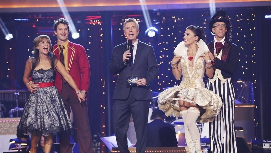 "Dorothy Hamill, Tristian Macmanus, Tom Bergerson, Sharna Burgess and Andy Dick are seen on ""Dancing With the Stars."""