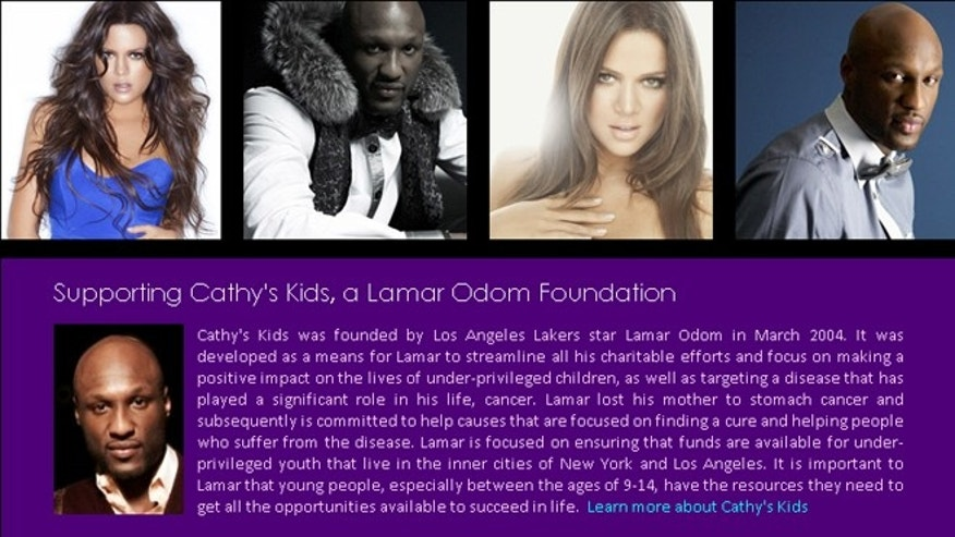 Lamar Odom and Khloe Kardashian's eBay auction site, which gives a portion of proceeds to Cathy's Kids.