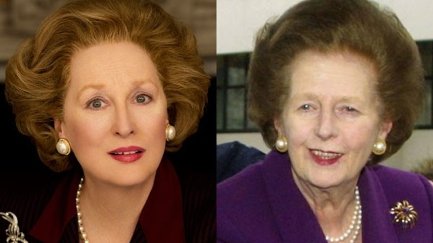 Meryl Streep, left, as Margaret Thatcher, right.
