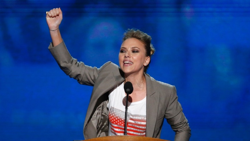 Actress Scarlett Johansson addresses delegates during the final session of the Democratic National Convention in Charlotte, North Carolina September 6, 2012.