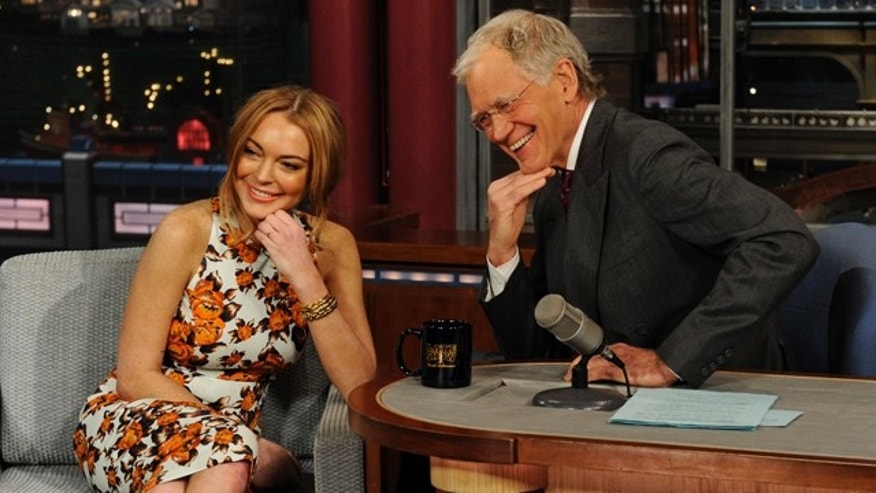 April 9, 2013: Actress Lindsay Lohan talks to David Letterman about her upcoming trip to rehab.