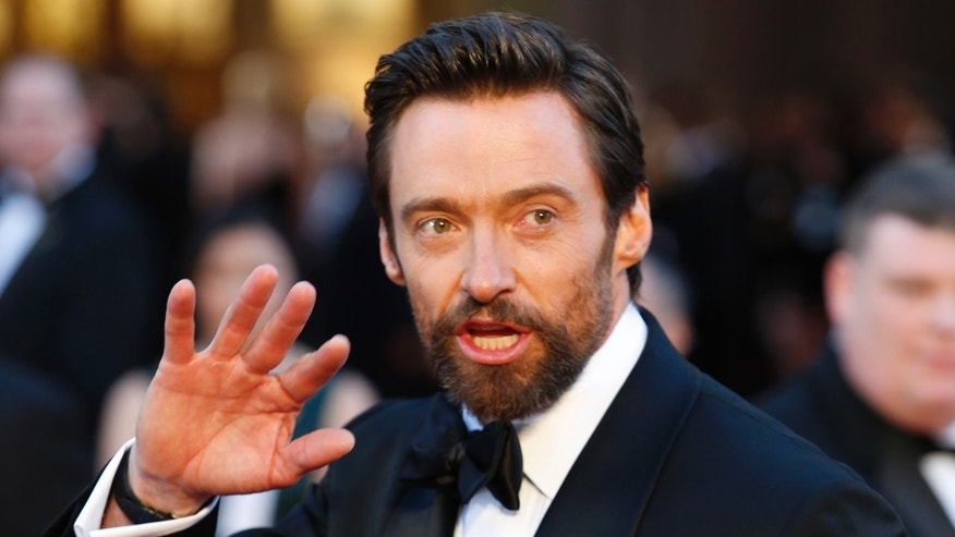 "Australian born actor, Hugh Jackman, best actor nominee for his role in ""Les Miserables"" arrive at the 85th Academy Awards in Hollywood, California on Feb. 24, 2013."