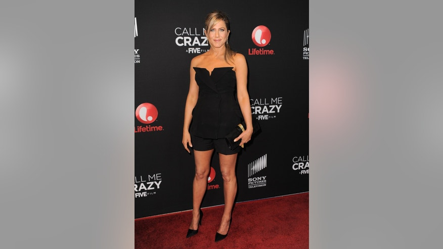 "Jennifer Aniston arrives at the world premiere of ""Call Me Crazy: A Five Film"" at the Pacific Design Center on Tuesday, April 16, 2013 in Los Angeles."