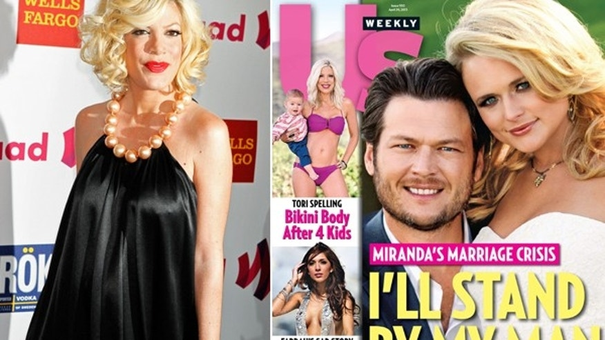 Tori Spelling in 2011, left, and on the cover of US Weekly, right.
